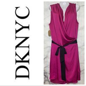 DKNYC HOT PINK DRAPED DRESS LARGE BLACK BELT